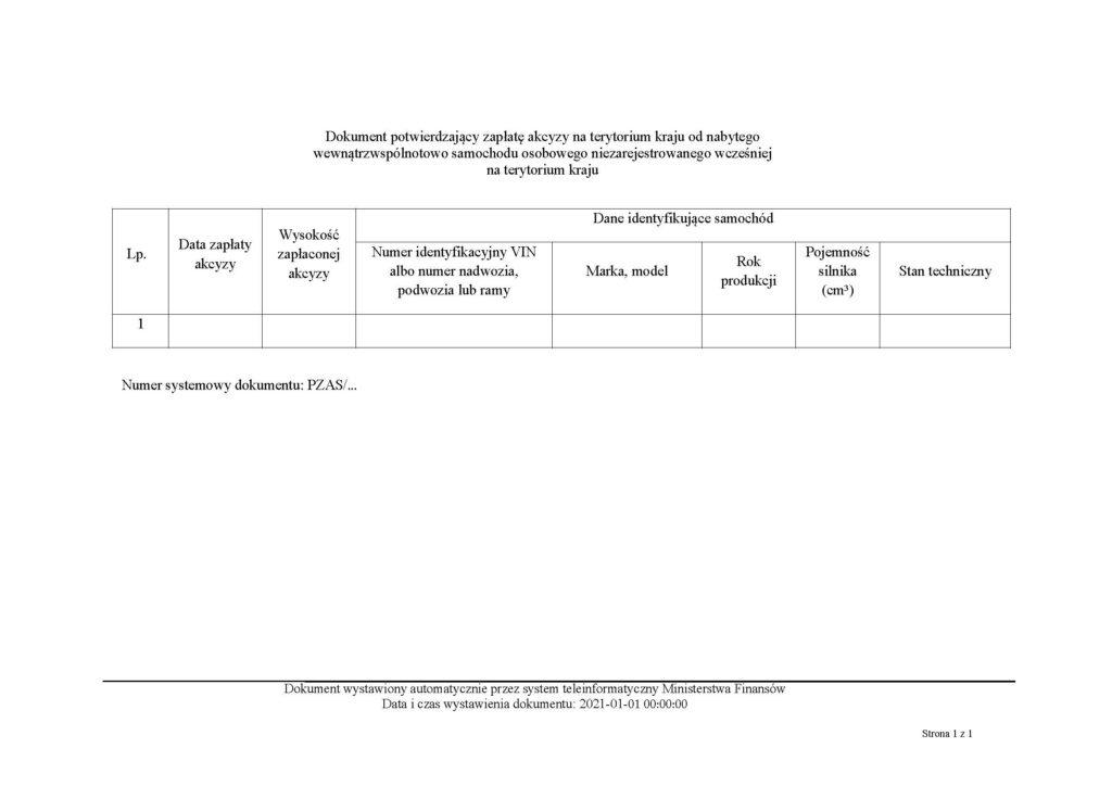 Potwierdzenie zapłaty akcyzy od nabytego wewnątrzwspólnotowo samochodu osobowego